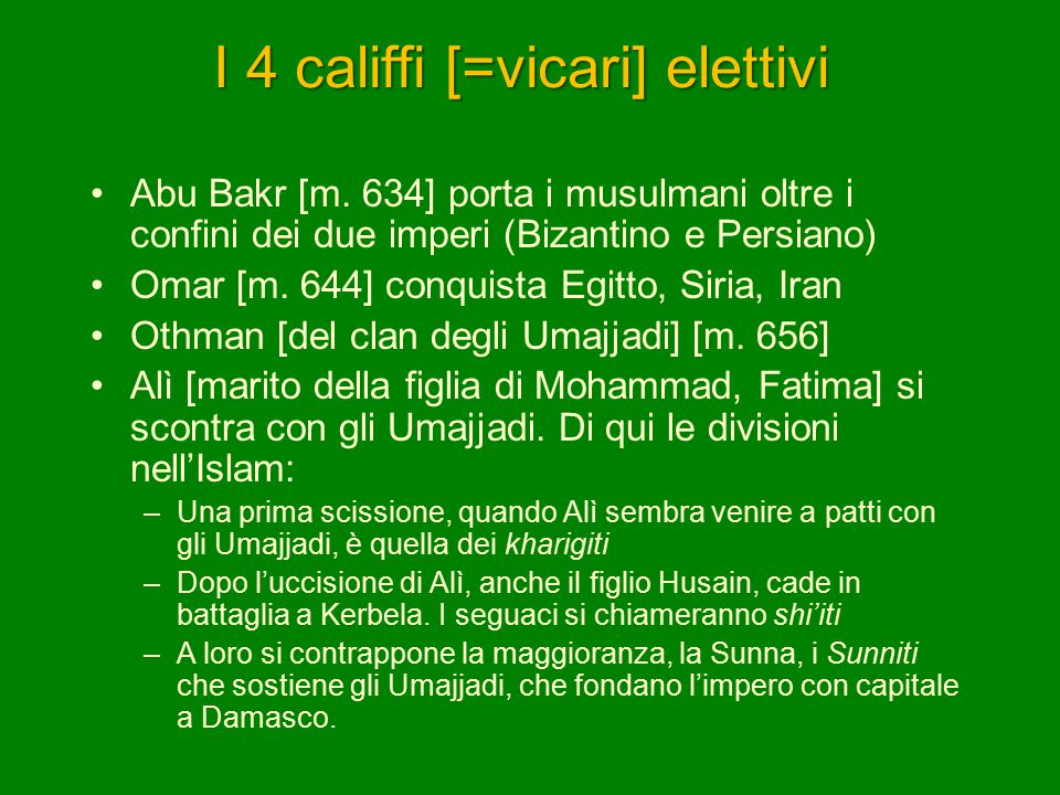 I 4 califfi [=vicari] elettivi